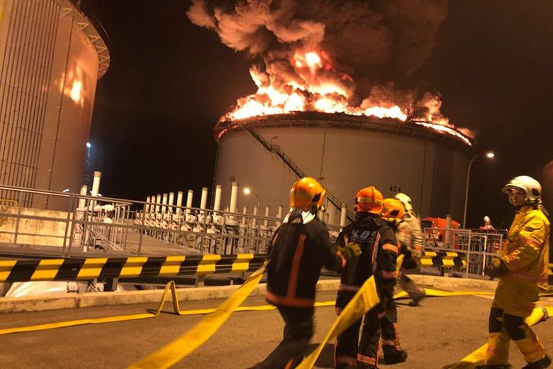 Fire extinguished at fuel oil storage tank in Singapore