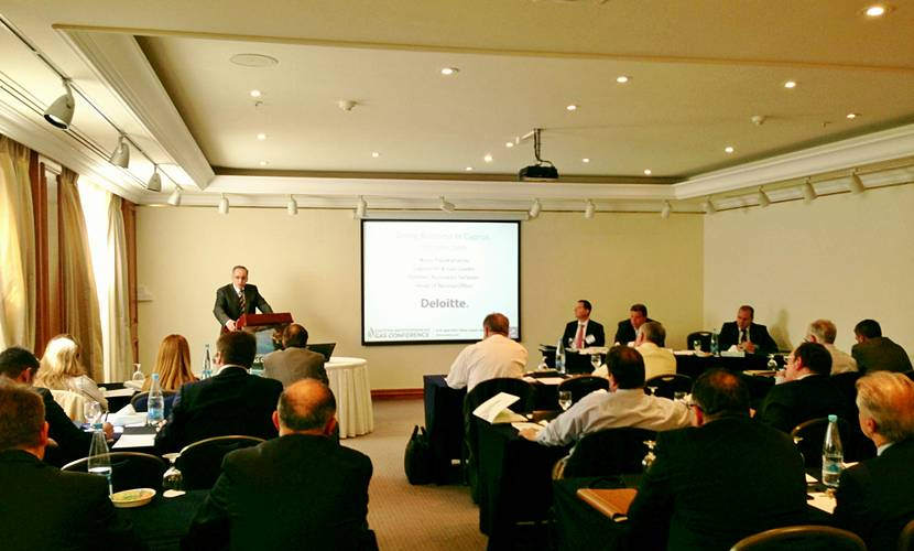 Deloitte Oil and Gas Leader for Cyprus, Nicos Papakyriacou, introduces speakers at EMGC's Monday afternoon workshop.